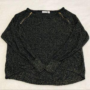 💕5/$15 Bisou Bisou Metallic Sweater Neck Zippers